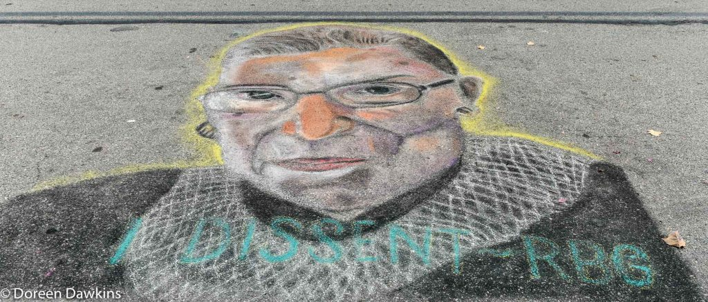 Ruth Bader Ginsburg, Allina M, @allinasartwork, Chalk the Block 2020, COVID-19 Break